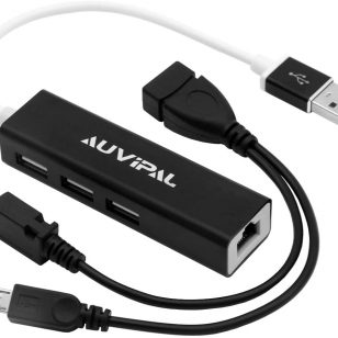 AuviPal LAN Ethernet Adapter with 3 Ports USB OTG Hub